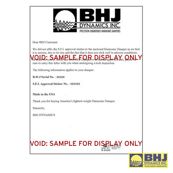 Harmonic Damper SFI Re-Certification - Click Image to Close